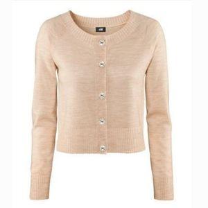 H&M 100% Merino Wool Rhinestone Button Cardigan S